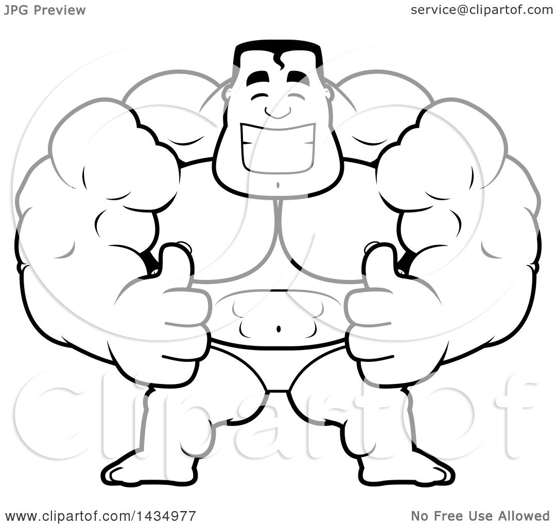 Clipart Of A Cartoon Black And White Lineart Buff Muscular
