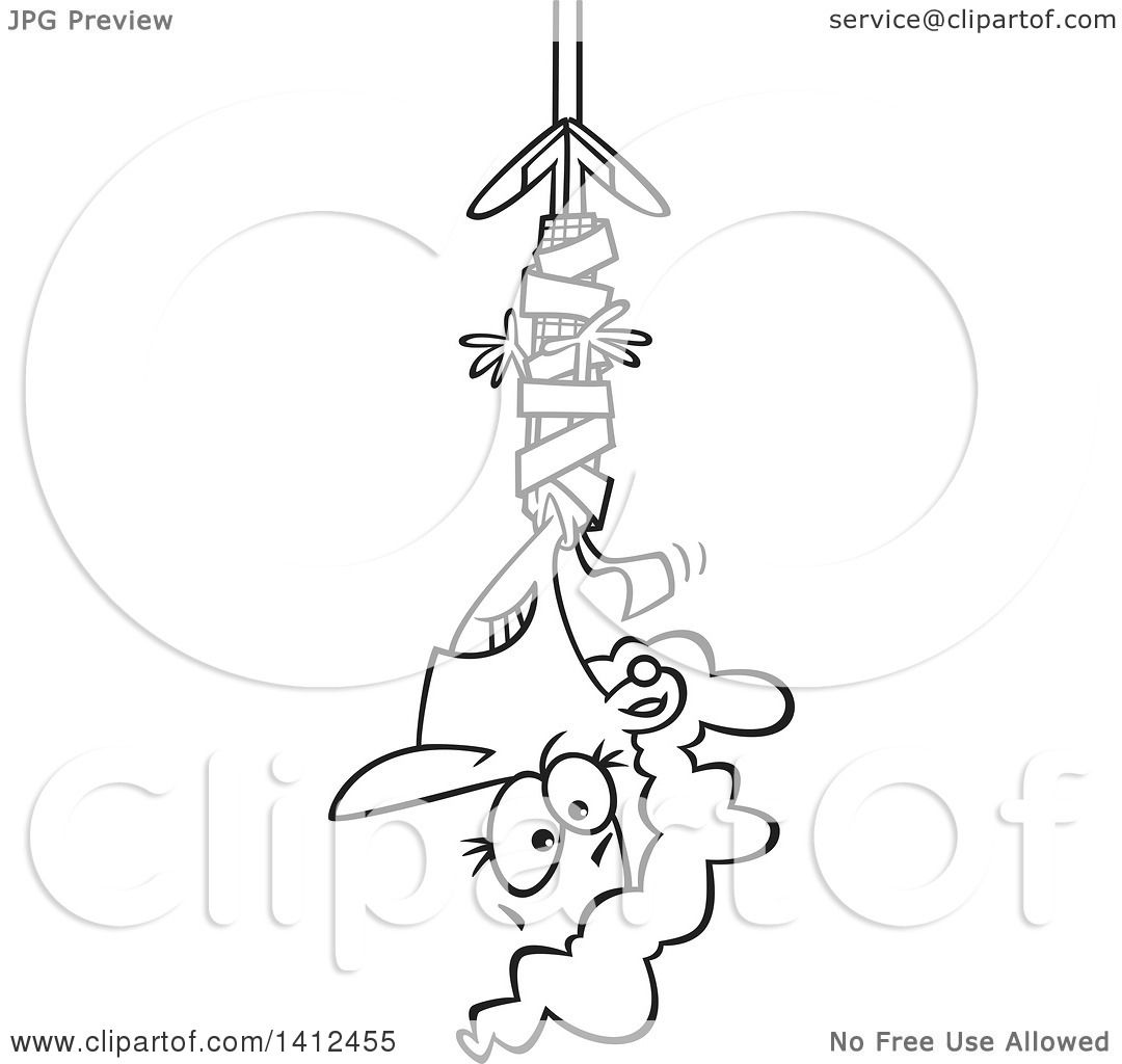 Clipart Of A Cartoon Black And White Lineart Business