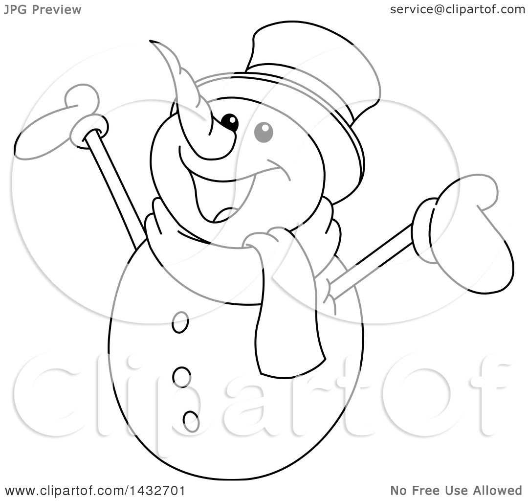 Clipart Of A Cartoon Black And White Lineart Cheerful