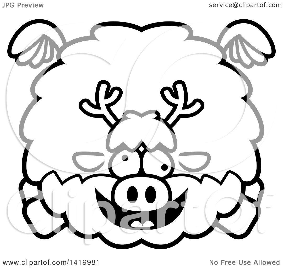 Clipart Of A Cartoon Black And White Lineart Chubby Crazy
