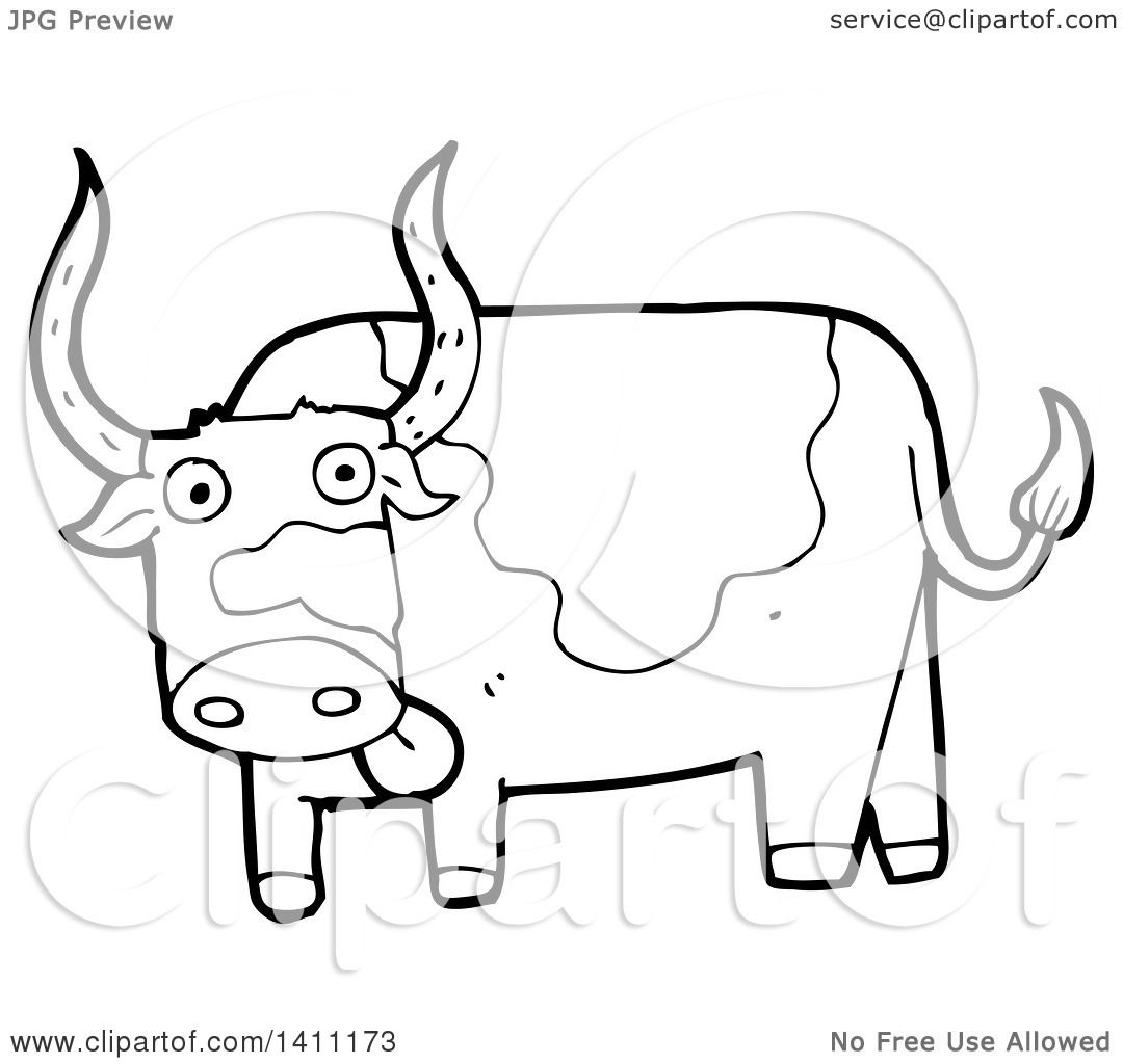 Clipart Of A Cartoon Black And White Lineart Cow Bull
