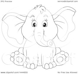 elephant baby sitting clipart cartoon cute drawing lineart illustration clip vector royalty bannykh alex getdrawings