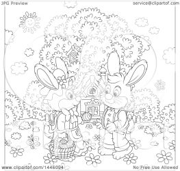 cartoon rabbit bunny spring cute easter front boy cottage giving vector clipart royalty illustration egg lineart alex clip bannykh