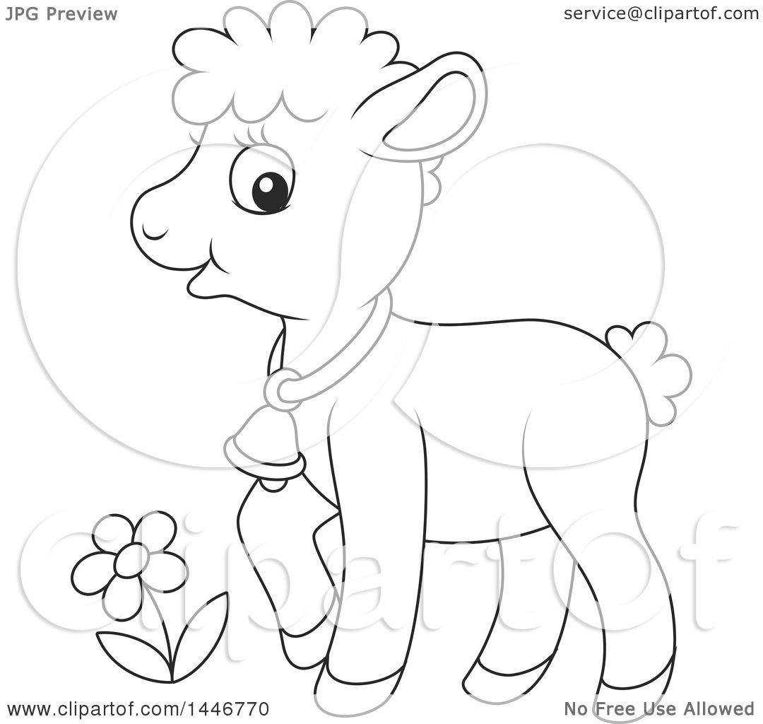 Clipart Of A Cartoon Black And White Lineart Cute Sheared