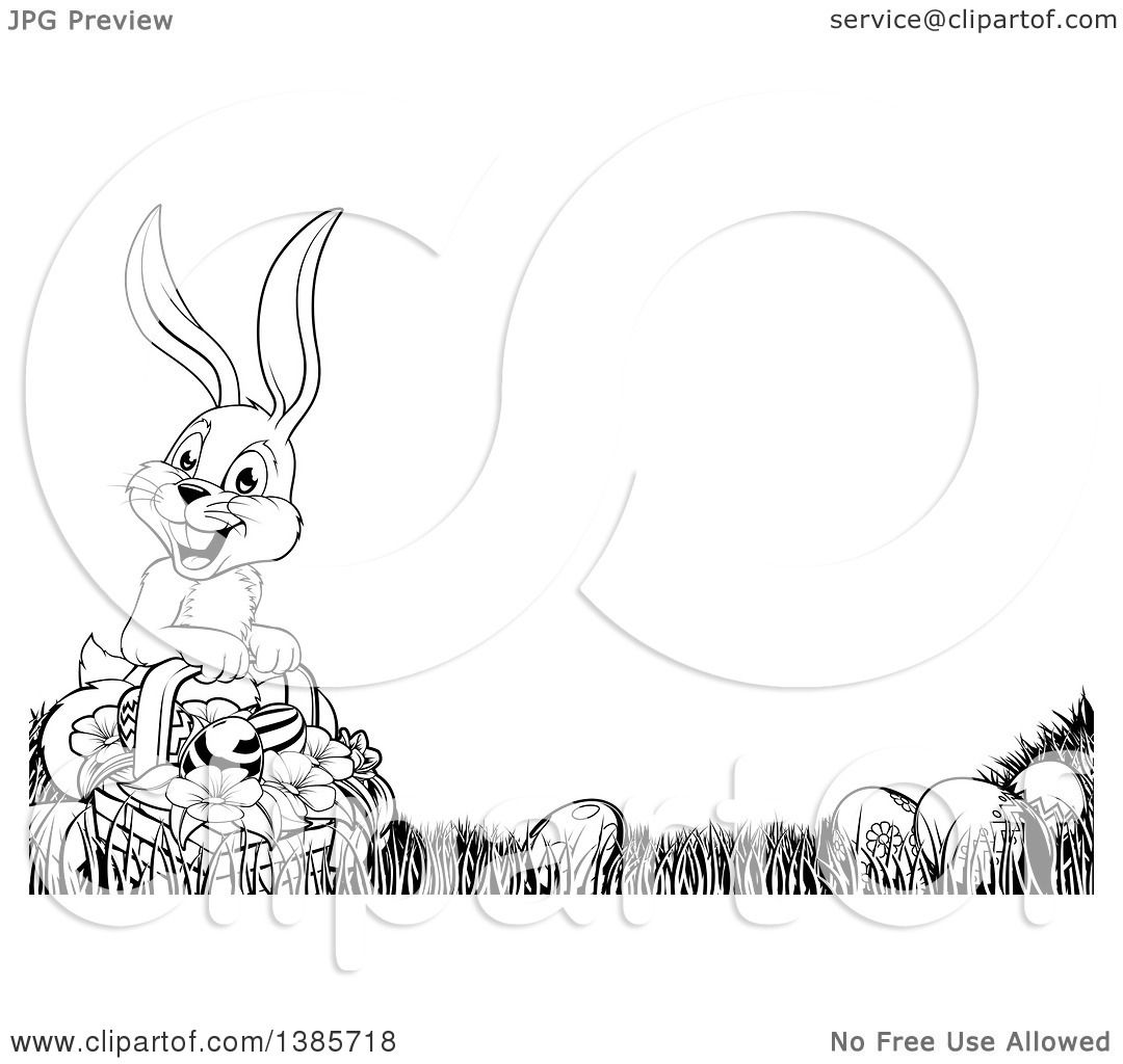 Clipart Of A Cartoon Black And White Lineart Easter Bunny