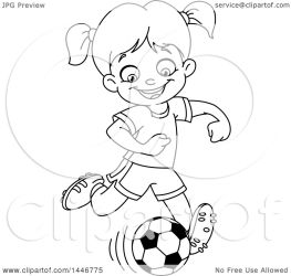 Clipart of a Cartoon Black and White Lineart Girl Playing Soccer Royalty Free Vector Illustration by yayayoyo #1446775