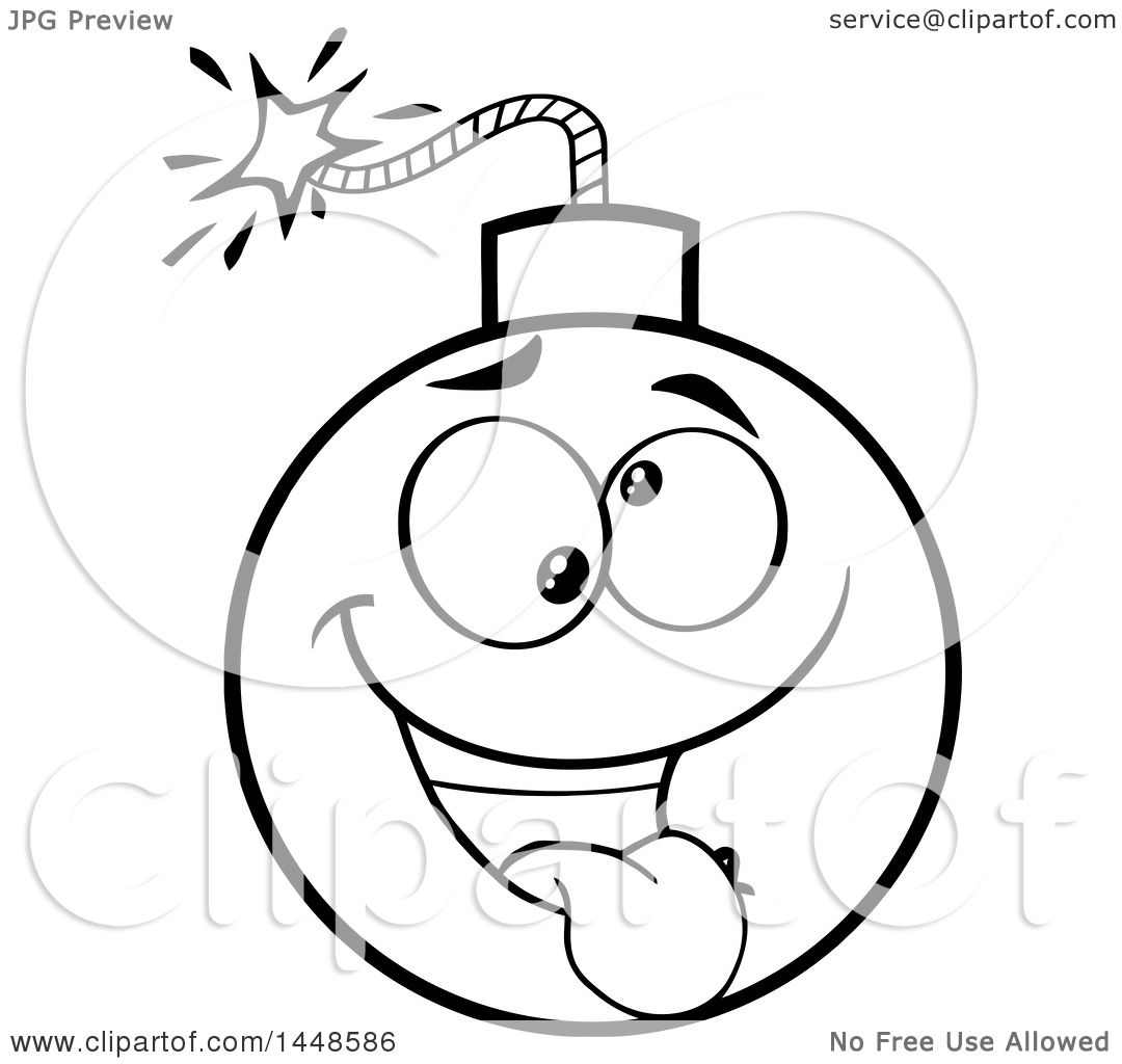 Clipart Of A Cartoon Black And White Lineart Goofy