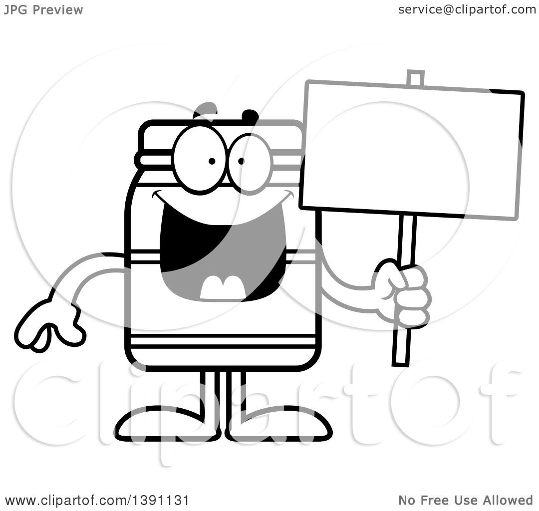 Clipart Of A Cartoon Black And White Lineart Jam Jelly