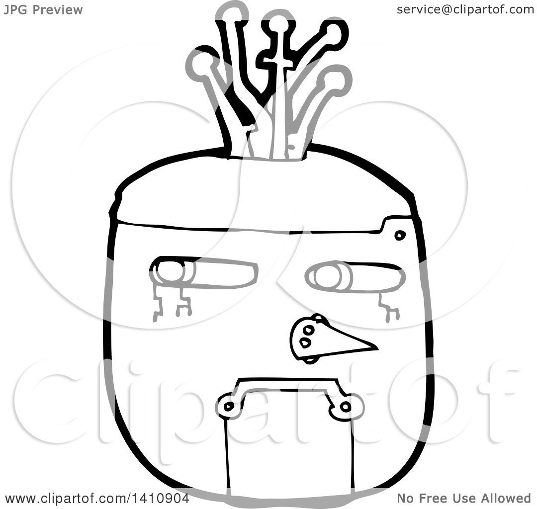 Clipart Of A Cartoon Black And White Lineart Robot Face