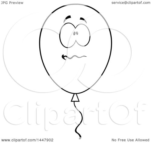 small resolution of clipart of a cartoon black and white lineart stressed party balloon character royalty free vector illustration by hit toon