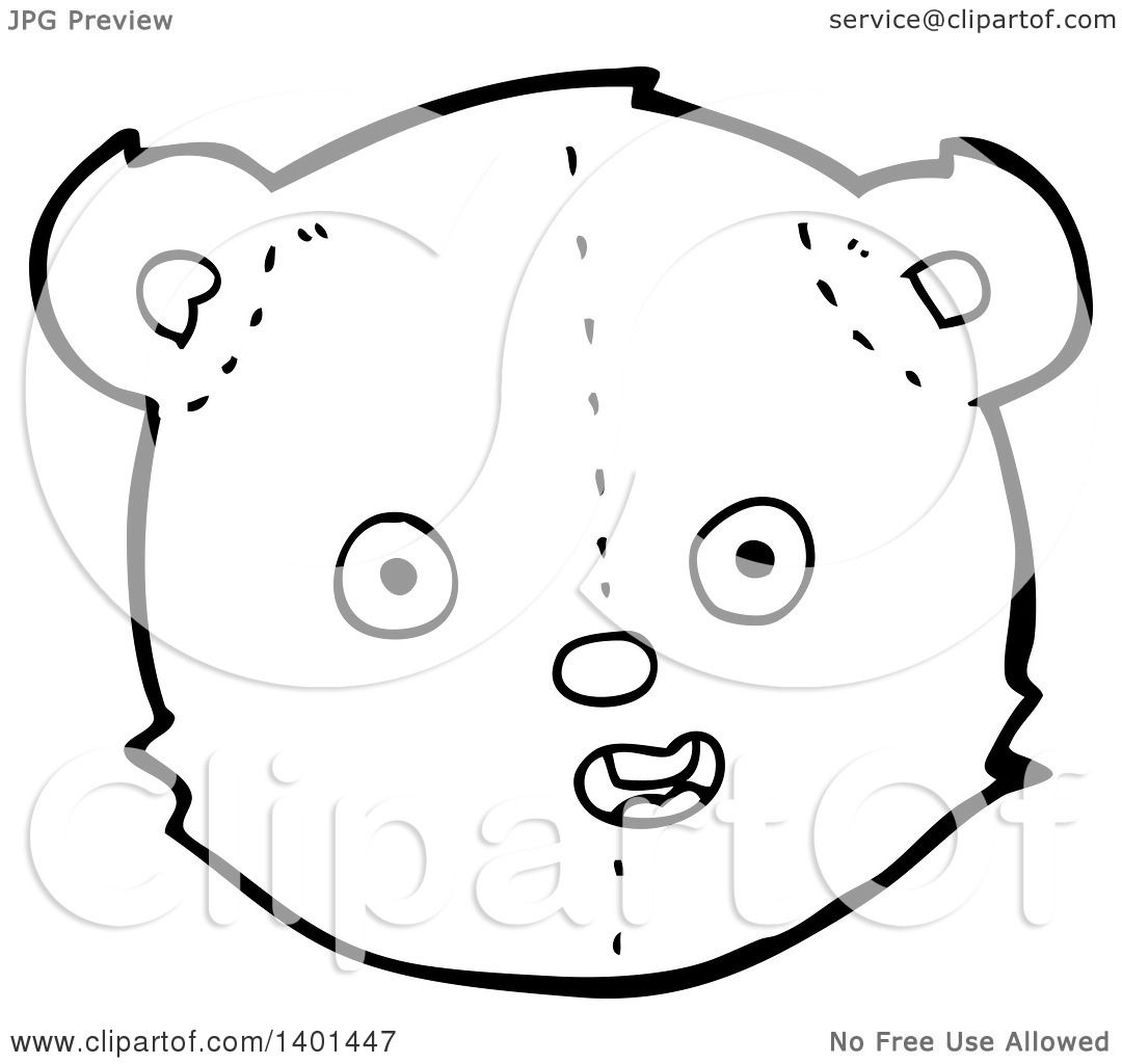 Clipart Of A Cartoon Black And White Lineart Teddy Bear