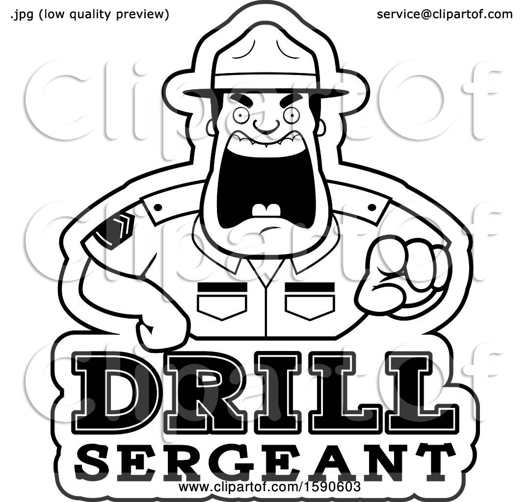 Clipart of a Cartoon Black and White Male Drill Sergeant