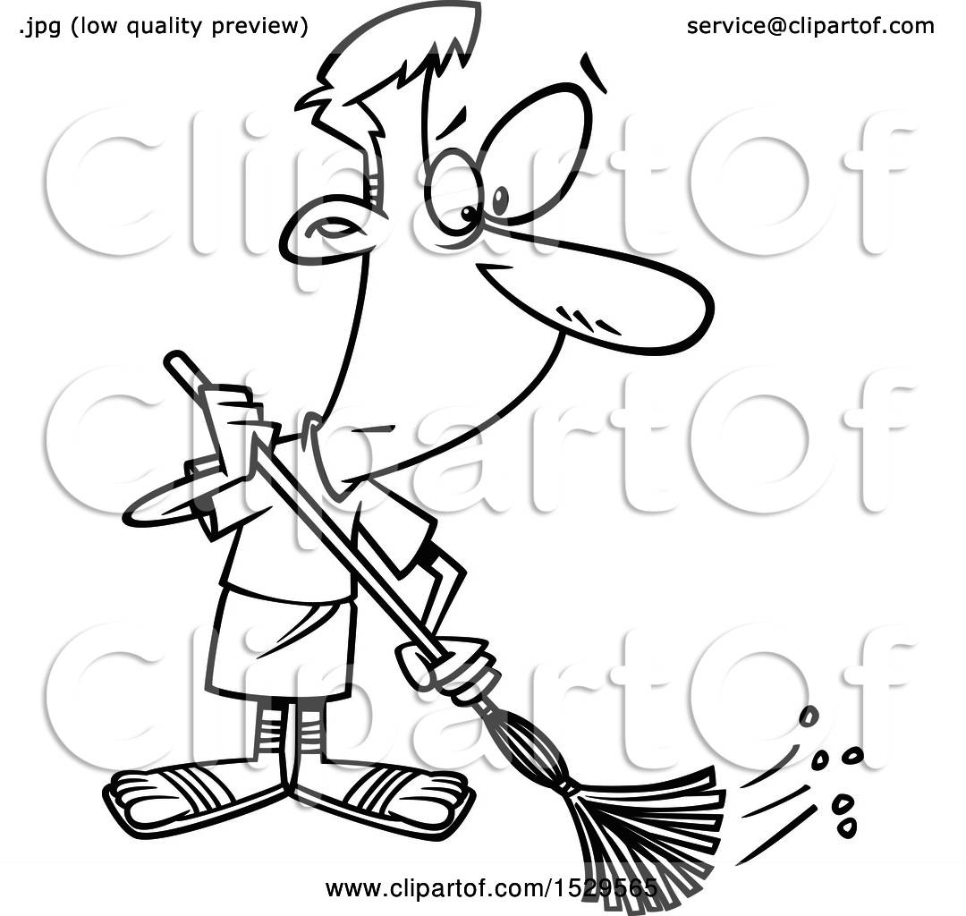 Clipart of a Cartoon Black and White Male Roman Slave