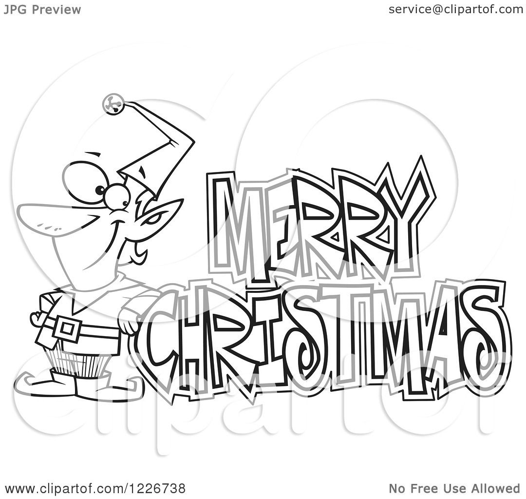Clipart Of A Cartoon Black And White Merry Christmas