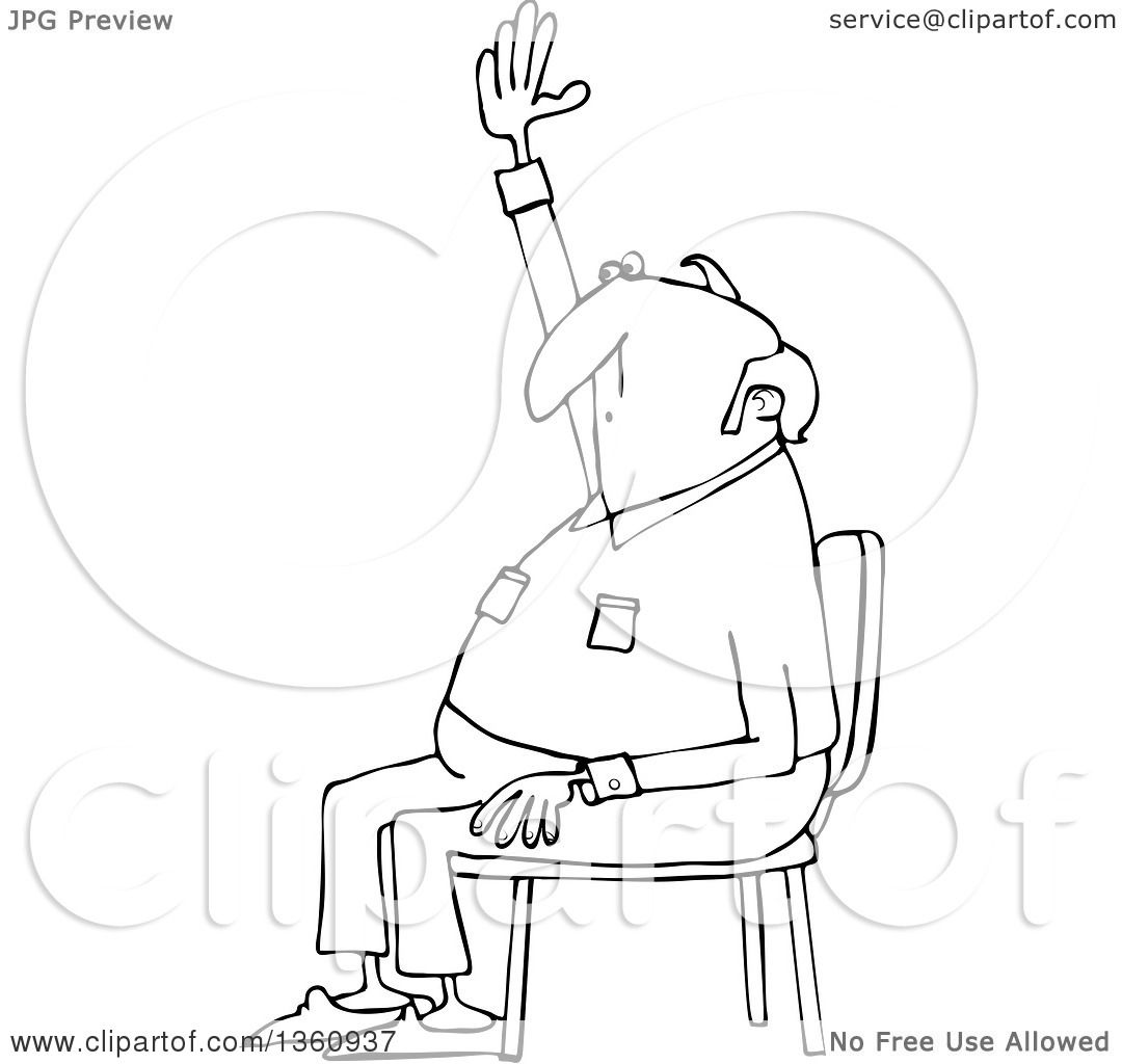 Clipart Of A Cartoon Black And White Nearly Bald Man
