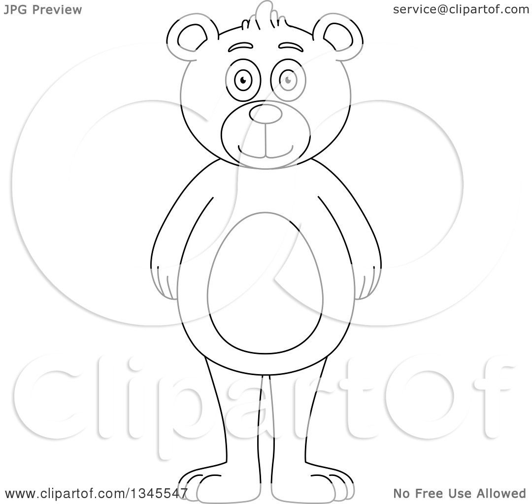 Clipart Of A Cartoon Black And White Outline Standing