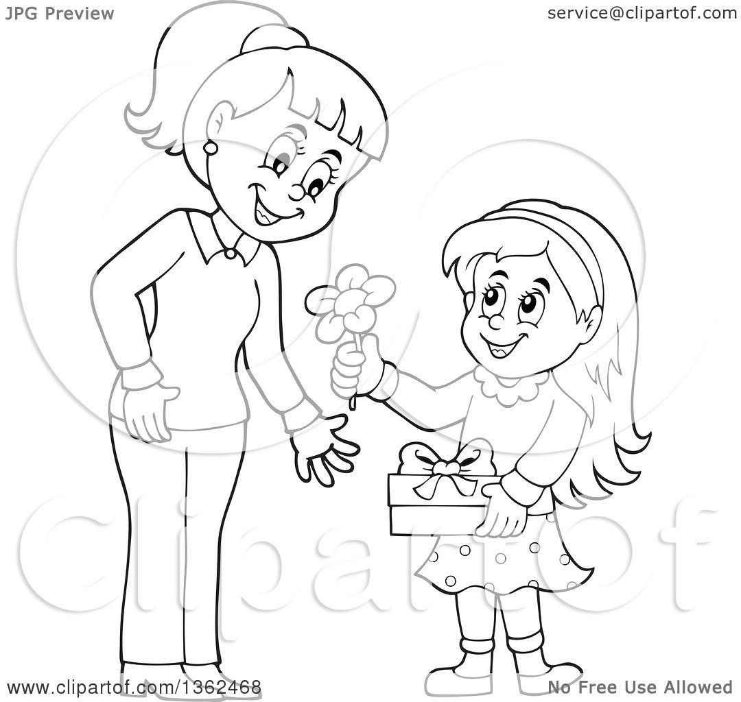 Clipart Of A Cartoon Black And White Thoughtful Girl