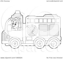 fire truck cartoon fireman clipart illustration driving male vector royalty visekart