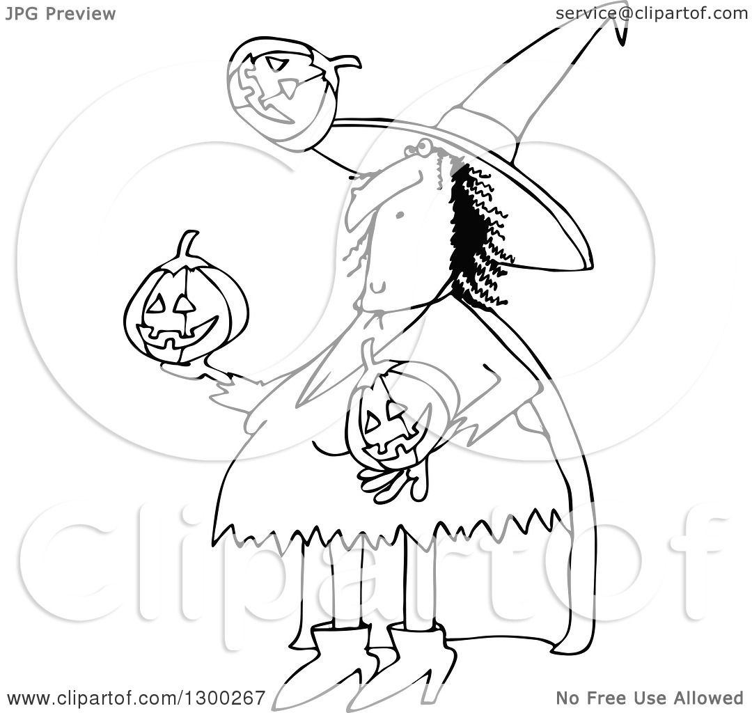 Clipart Of A Cartoon Black And White Witch Juggling