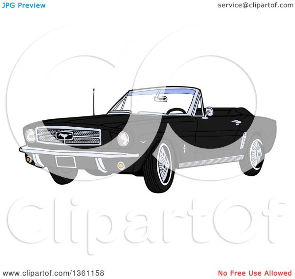 Clipart of a Cartoon Black Convertible 64 Ford Mustang