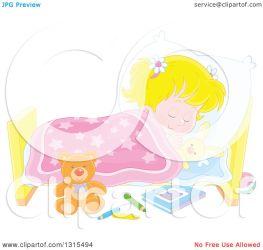 sleeping cartoon peacefully bed clipart royalty caucasian blond illustration bannykh alex vector