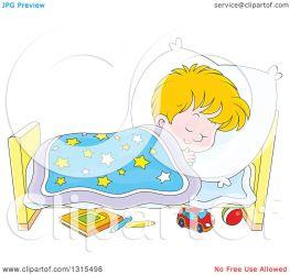 sleeping cartoon bed boy peacefully clipart blond illustration royalty vector bannykh alex collc0056