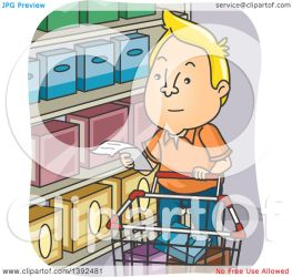 cartoon shopping grocery reading clipart illustration blond vector royalty bnp studio
