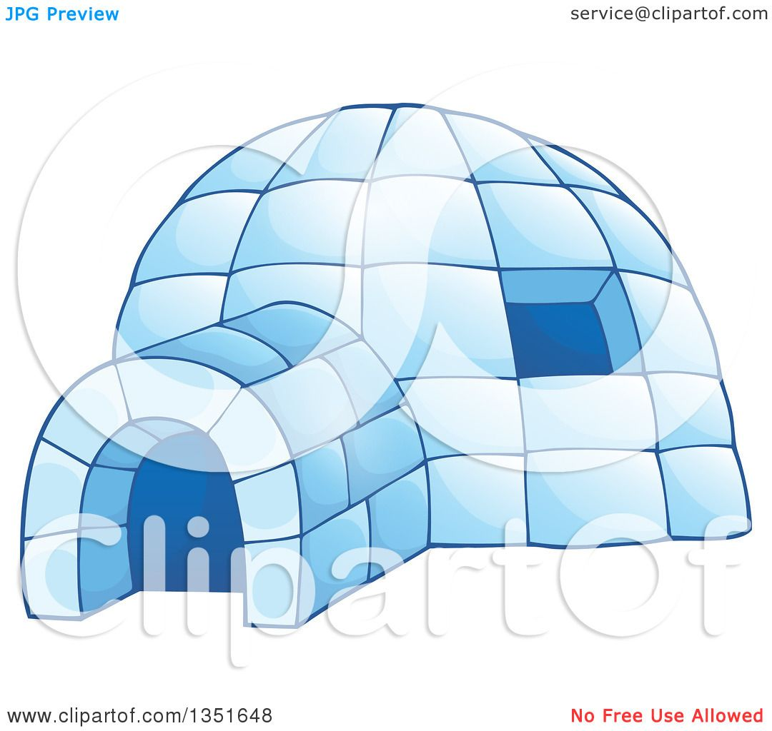 hight resolution of clipart of a cartoon blue icy igloo dwelling royalty free vector illustration by visekart