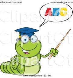 clipart of a cartoon caterpillar teacher mascot character teaching the abcs and holding a pointer stick [ 1080 x 1024 Pixel ]
