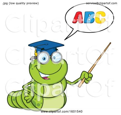 small resolution of clipart of a cartoon caterpillar teacher mascot character teaching the abcs and holding a pointer stick