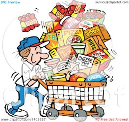 shopping cartoon grocery cart clipart snacks illustration superbowl sunday vector caucasian series royalty sajem johnny clipartmag