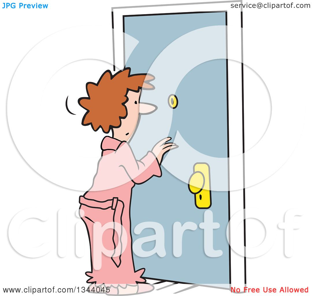 hight resolution of clipart of a cartoon caucasian woman in a robe looking through a peep hole in