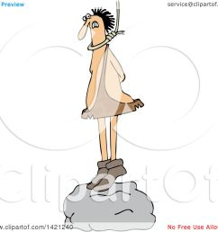 clipart of a cartoon caveman standing on a boulder with a noose around his neck  [ 1080 x 1024 Pixel ]