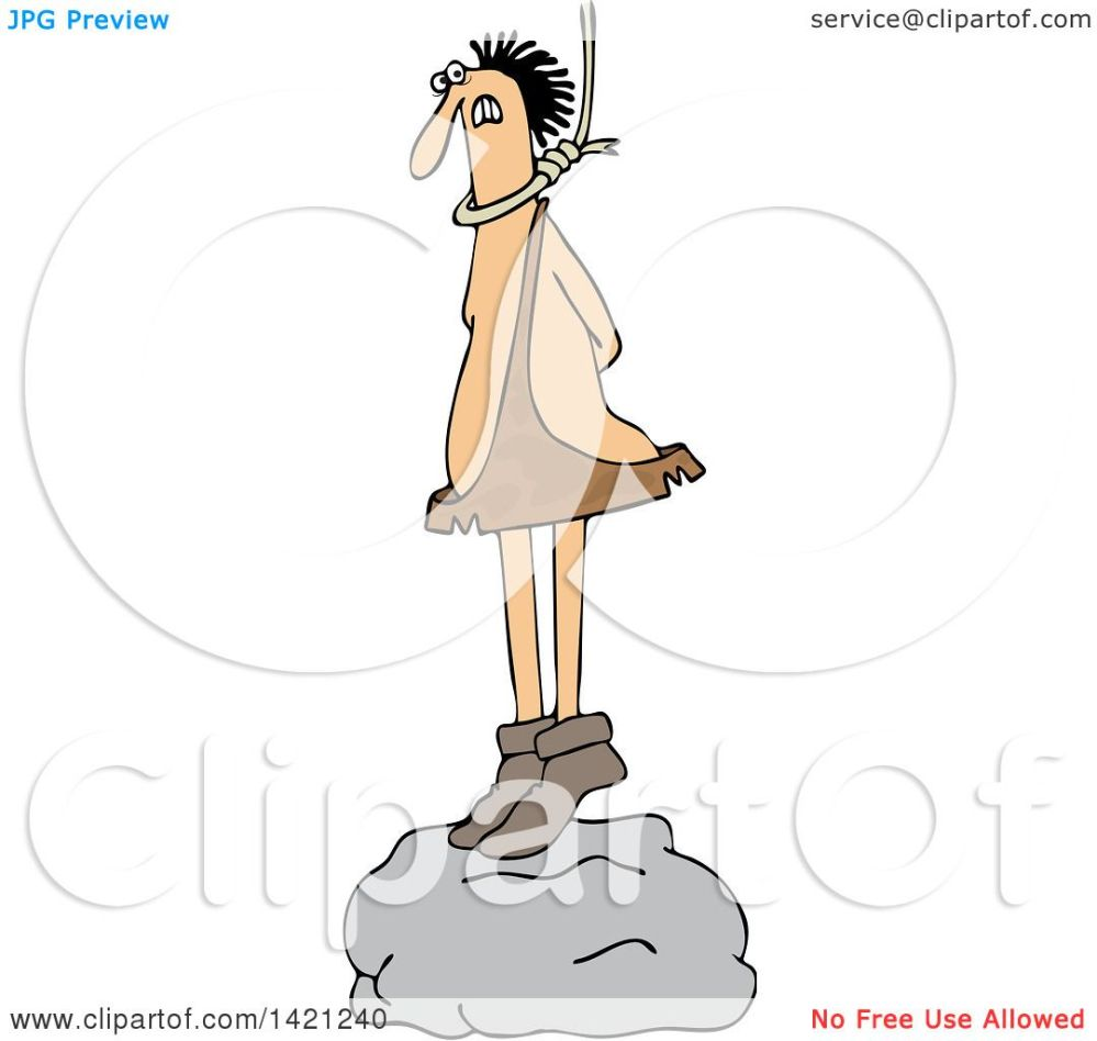 medium resolution of clipart of a cartoon caveman standing on a boulder with a noose around his neck