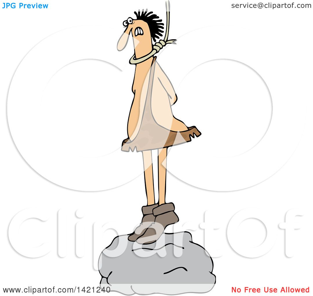 hight resolution of clipart of a cartoon caveman standing on a boulder with a noose around his neck