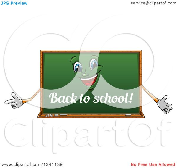 Clipart Of Cartoon Chalkboard Character With