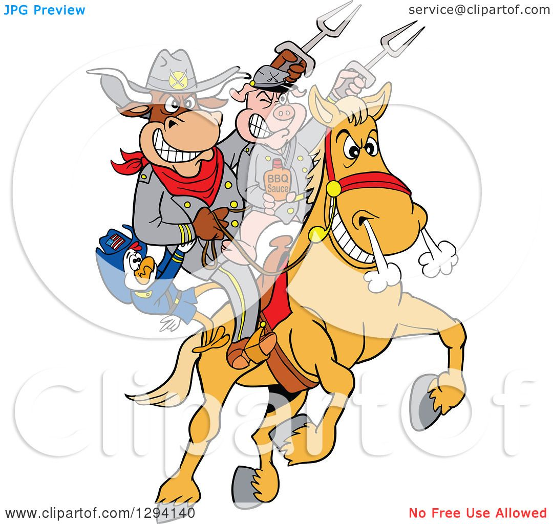 hight resolution of clipart of a cartoon chicken bull and pig civil war soldiers riding a horse with bbq sauce royalty free vector illustration by lafftoon