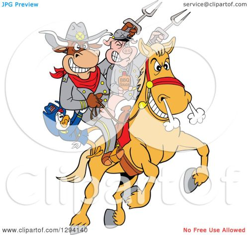 small resolution of clipart of a cartoon chicken bull and pig civil war soldiers riding a horse with bbq sauce royalty free vector illustration by lafftoon