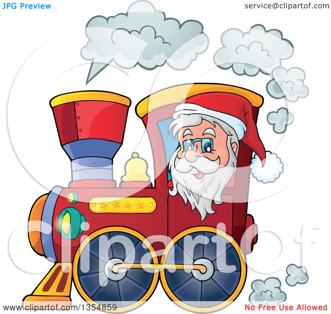 hight resolution of clipart of a cartoon christmas santa claus driving a train royalty free vector illustration by