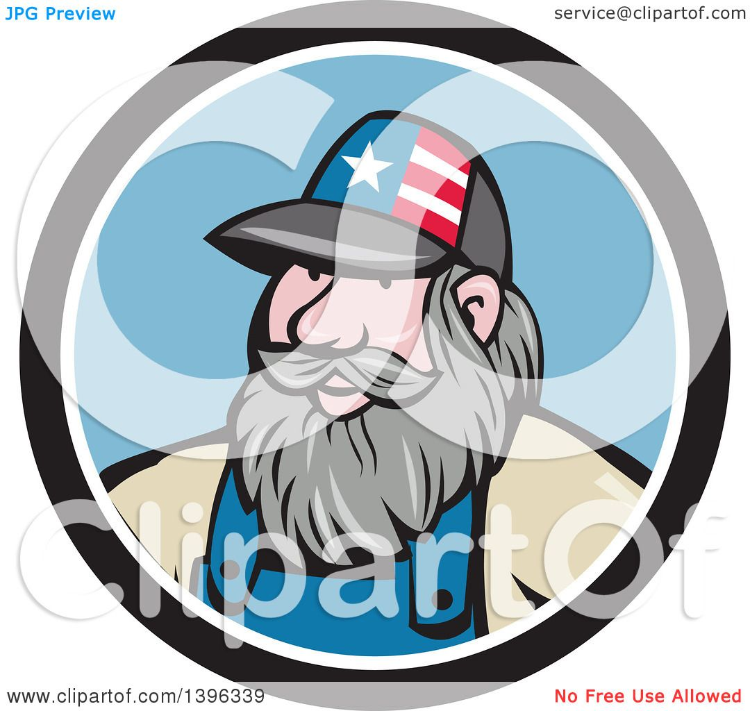 hight resolution of clipart of a cartoon chubby white male hillbilly wearing a patriotic hat in a black white