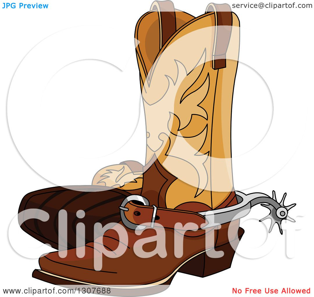 hight resolution of clipart of a cartoon cowboy boots with spurs royalty free vector illustration by pushkin