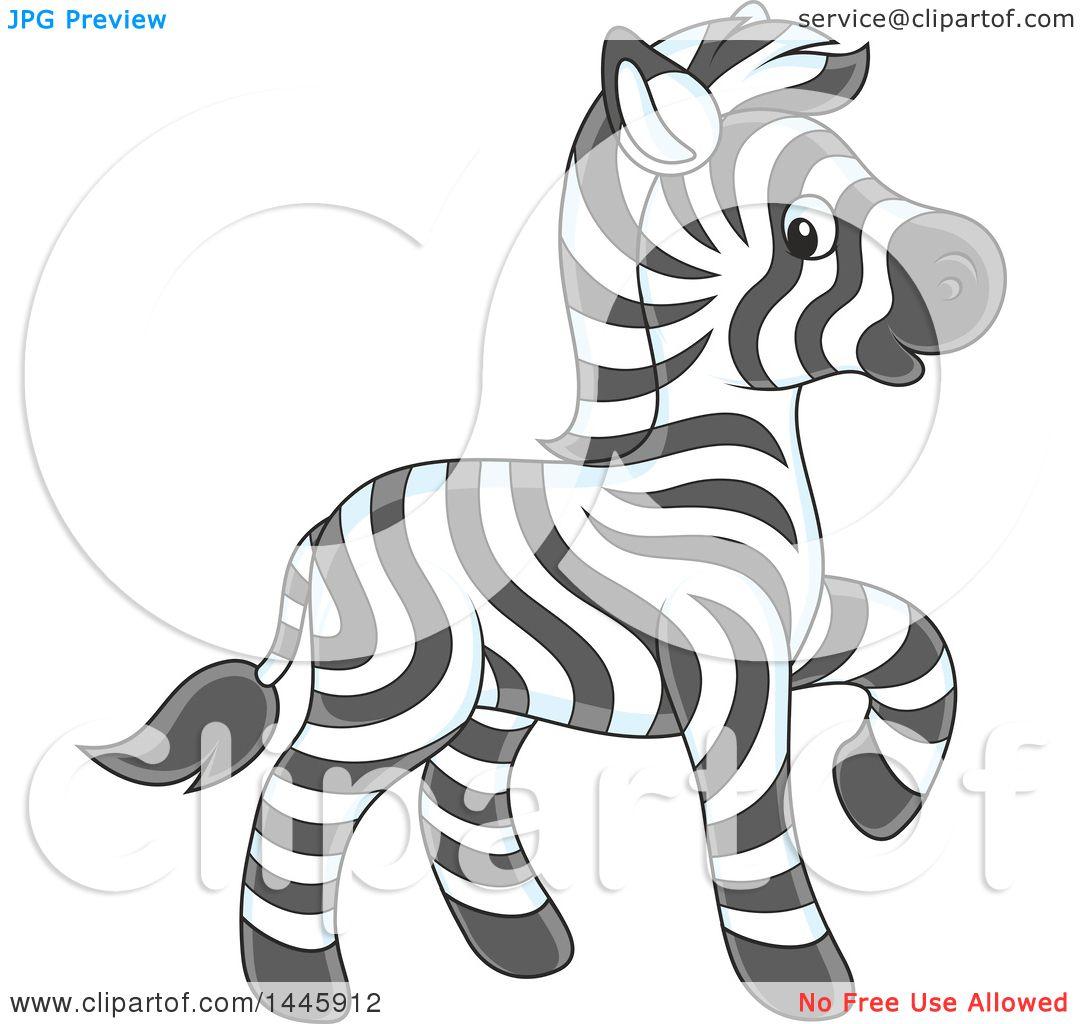 Clipart Of A Cartoon Cute Baby Zebra Walking