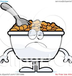 clipart of a cartoon depressed bowl of corn flakes breakfast cereal character royalty free vector illustration by cory thoman [ 1080 x 1024 Pixel ]