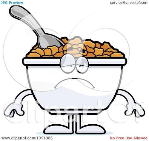 small resolution of clipart of a cartoon depressed bowl of corn flakes breakfast cereal character royalty free vector illustration by cory thoman
