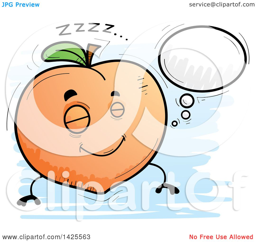 Clipart of a Cartoon Doodled Dreaming Peach Character - Royalty Free Vector Illustration by Cory Thoman #1425563