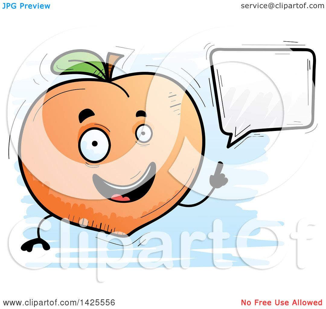 Clipart of a Cartoon Doodled Talking Peach Character - Royalty Free Vector Illustration by Cory Thoman #1425556