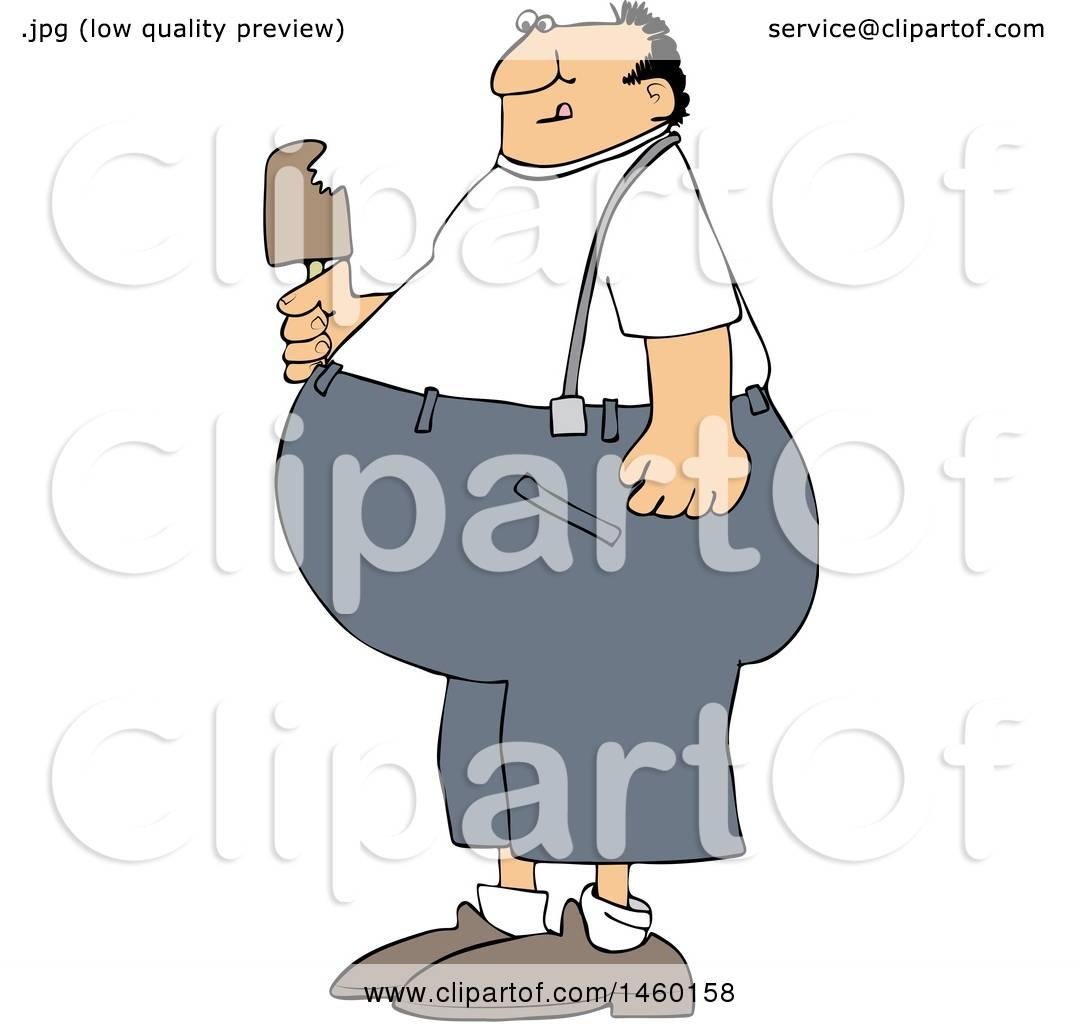 hight resolution of clipart of a cartoon fat man eating ice cream royalty free vector illustration by djart