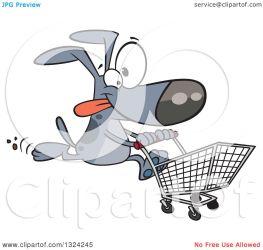 shopping cart cartoon dog running clipart gray illustration royalty vector leishman ron toonaday copyright collc0008