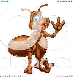 clipart of a cartoon happy ant waving royalty free vector illustration [ 1080 x 1024 Pixel ]