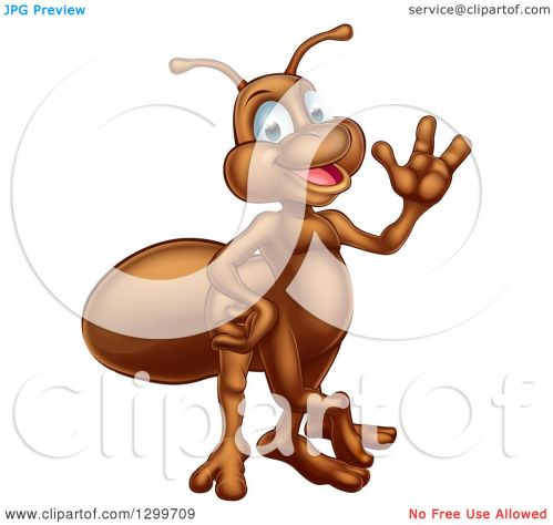 small resolution of clipart of a cartoon happy ant waving royalty free vector illustration